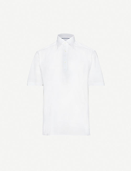 ETON Short-sleeve cotton-piqué polo shirt