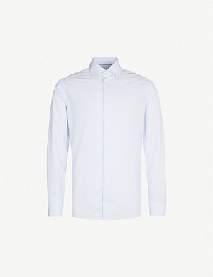 ETON Pinstriped slim-fit cotton-poplin shirt