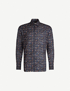 ETON Graphic-print slim-fit cotton shirt