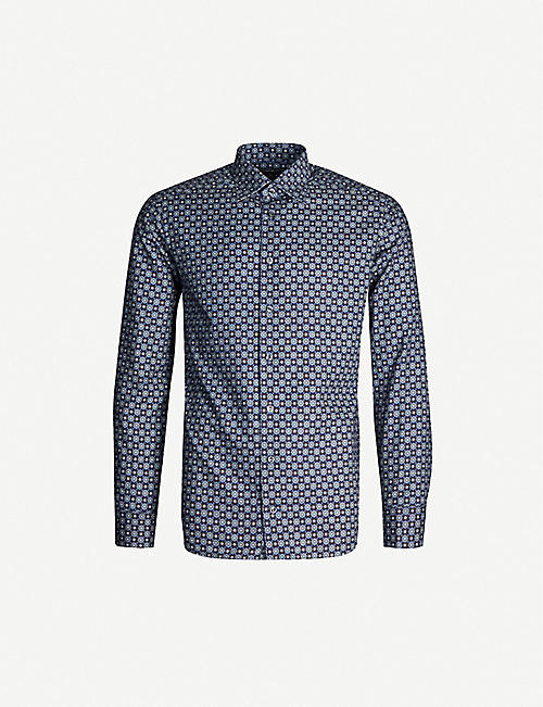 ETON Floral-print cotton-twill shirt