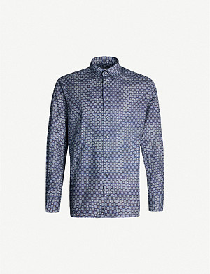 ETON Mosaic-print contemporary-fit cotton-twill shirt