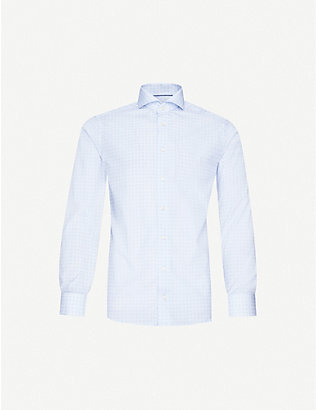 ETON: Geometric-print slim-fit cotton shirt