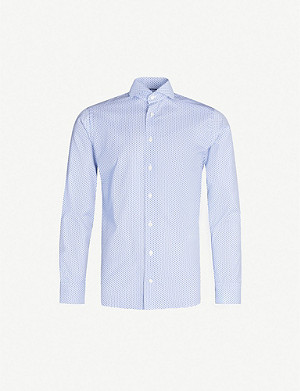 ETON Floral-print slim-fit cotton-poplin shirt