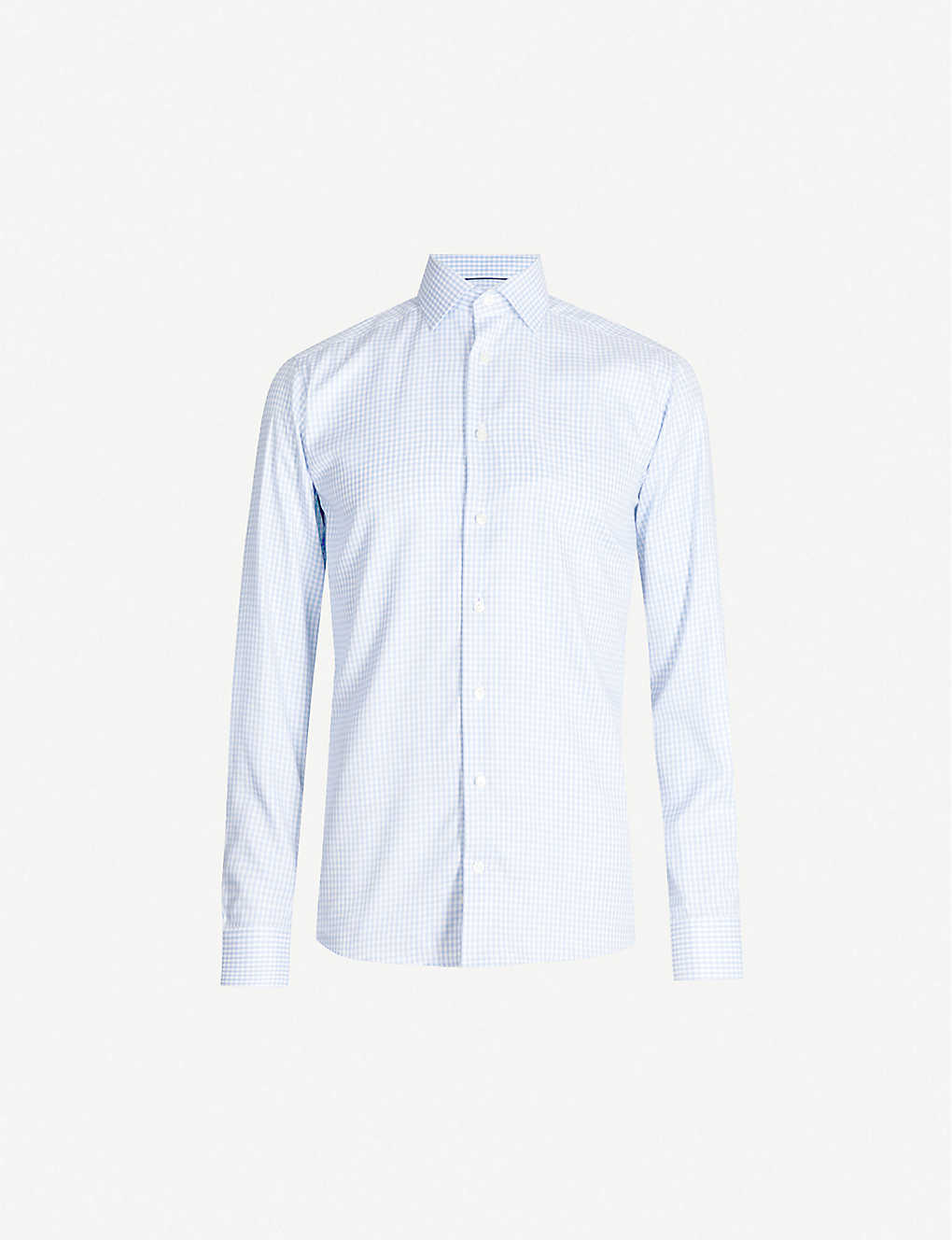 ETON: Checked slim-fit cotton-blend shirt