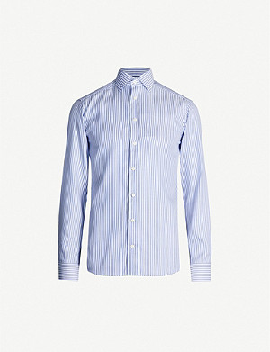 ETON Striped slim-fit cotton-blend shirt