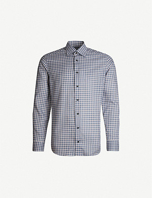 ETON Checked slim-fit cotton shirt