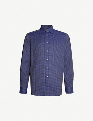 ETON Contemporary-fit checked cotton-twill shirt