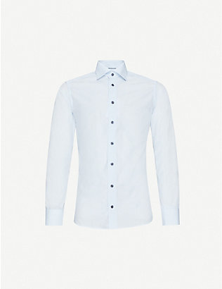 ETON: Striped slim-fit cotton-poplin shirt