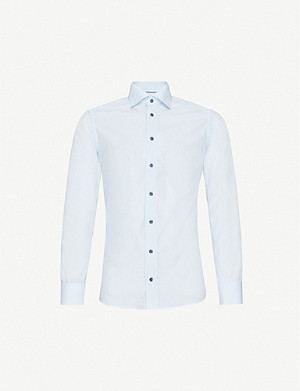 ETON Striped slim-fit cotton-poplin shirt
