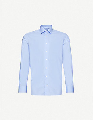 ETON: Geometric-print contemporary-fit cotton-poplin shirt