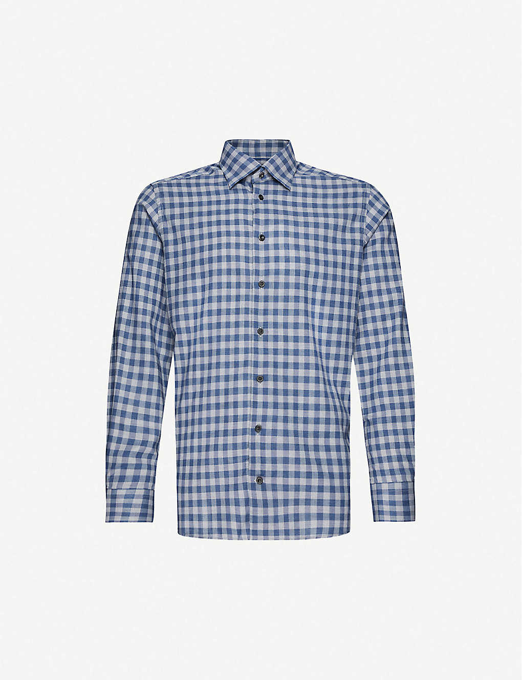 ETON: Gingham checked slim-fit cotton shirt