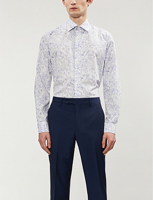 ETON Floral-print contemporary-fit cotton-poplin shirt
