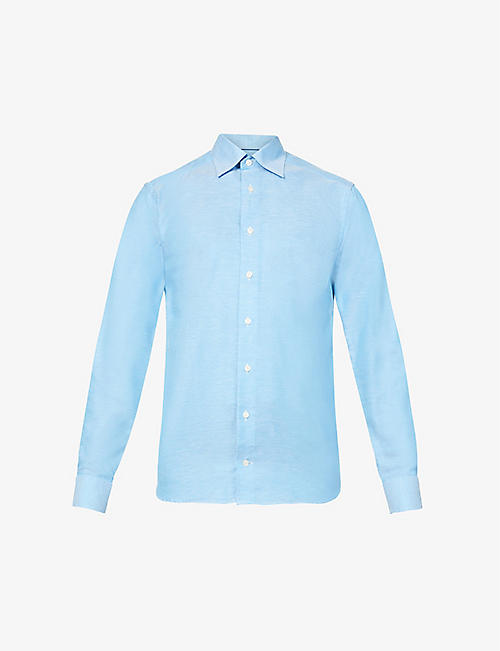 ETON: Slim-fit cotton and linen-blend shirt