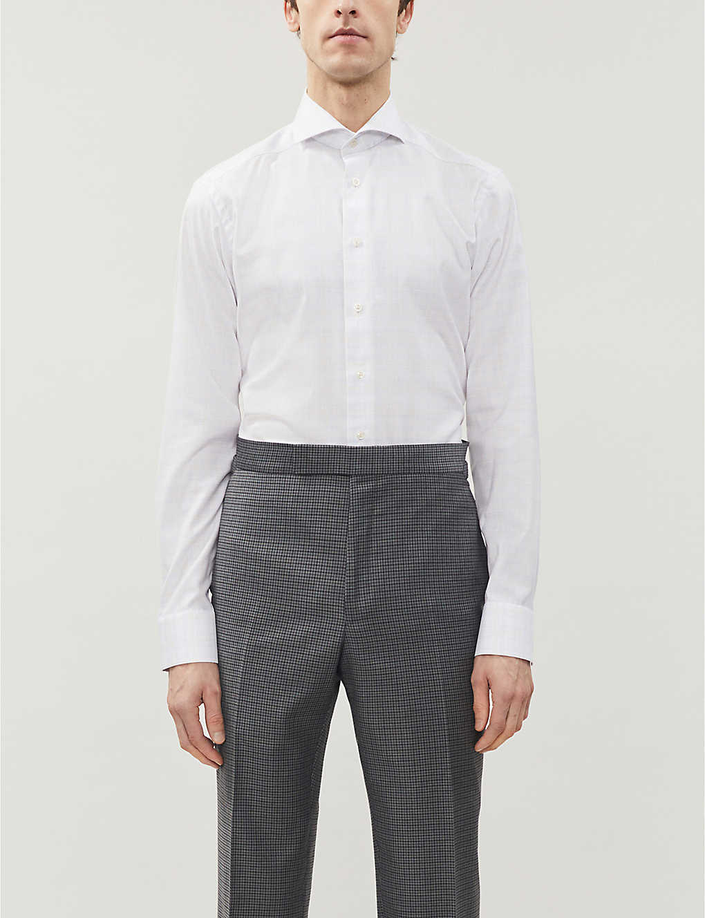 ETON: Checked slim-fit cotton-poplin shirt