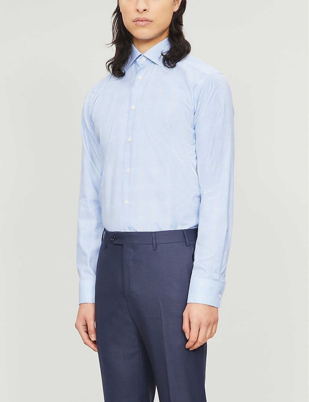ETON: Checked slim-fit cotton and lyocell-blend shirt