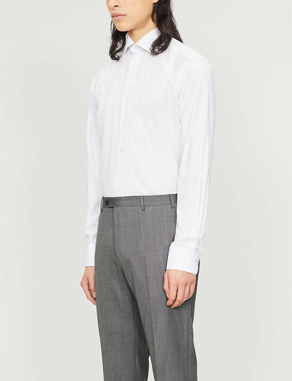 ETON: Checked contemporary-fit cotton and lyocell-blend shirt