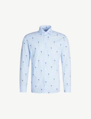 ETON Floral embroidered slim-fit cotton-poplin shirt