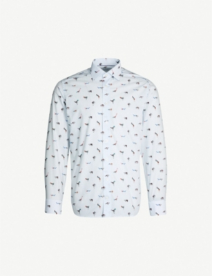 ETON Animal and stripe-print slim-fit cotton-poplin shirt