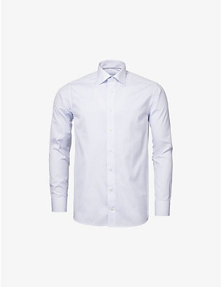 ETON: Slim-fit dot-print cotton-poplin shirt