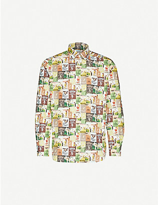 ETON: Graphic-pattern slim-fit cotton-poplin shirt
