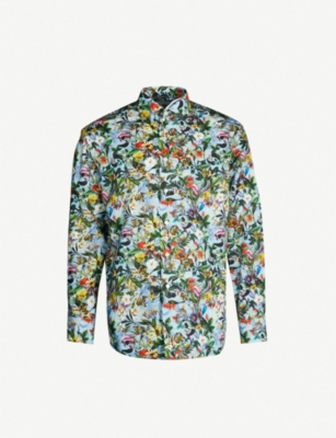 ETON Floral-print classic-fit cotton-twill shirt