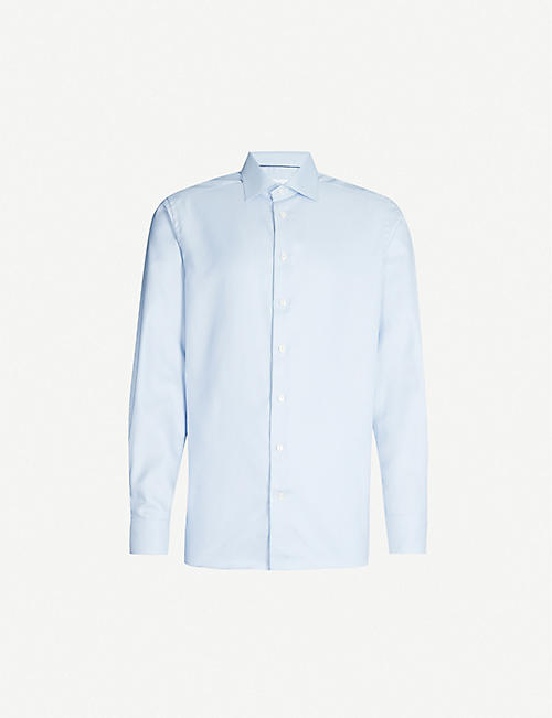 ETON: Dogtooth slim-fit cotton shirt