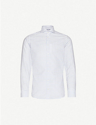 ETON: Checked slim-fit cotton and linen-blend shirt
