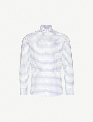 ETON Checked slim-fit cotton and linen-blend shirt