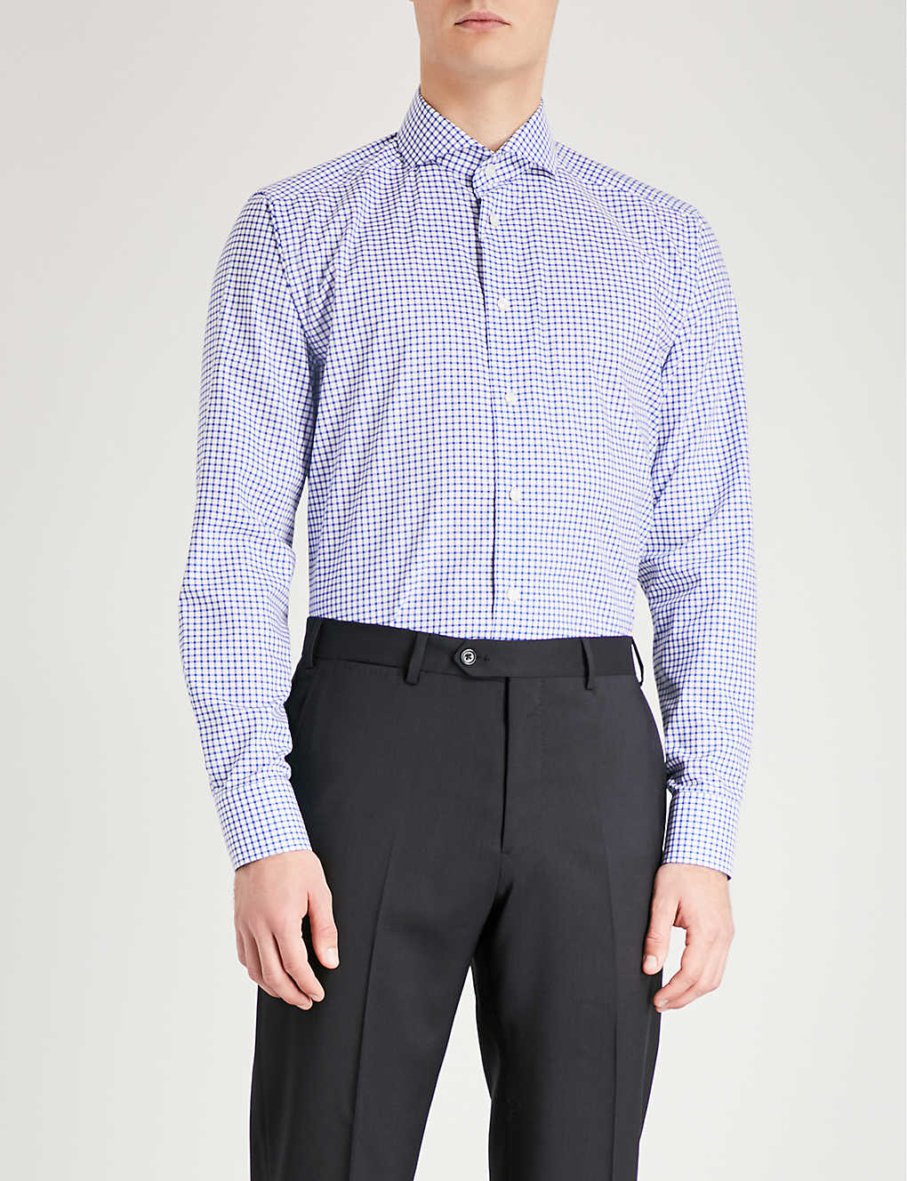 ETON: Checked slim-fit cotton shirt