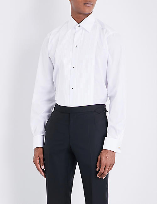 ETON: Plissé slim-fit double-cuff cotton shirt