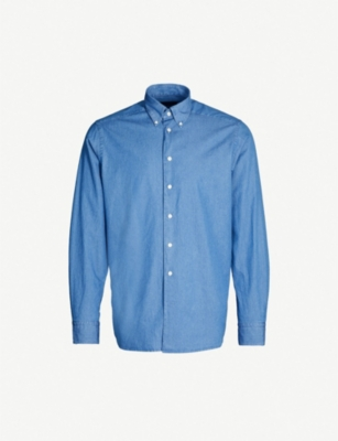 ETON Contemporary-fit cotton-chambray shirt