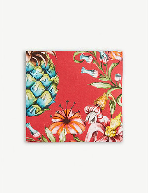 ETON Tropical floral print cotton and silk-blend pocket square