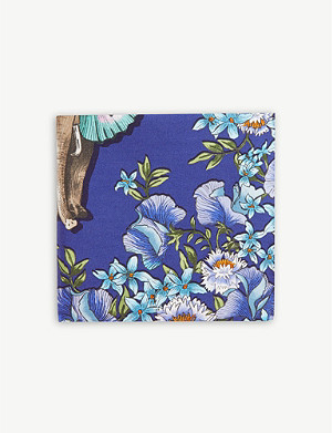 ETON Butterfly elephant cotton-blend pocket square
