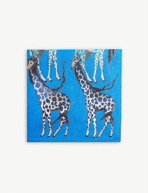 ETON Bird and giraffe print linen pocket square