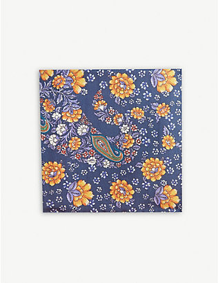 ETON: Floral paisley silk pocket square