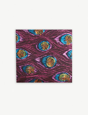 ETON Peacock pattern silk pocket square