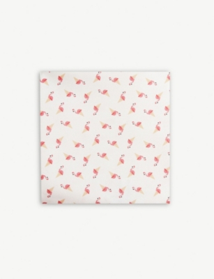 ETON Flamingo ice cream print silk pocket square