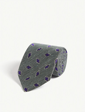 ETON Geometric diamond silk-blend tie