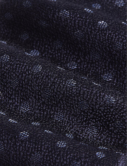 ETON Polka-dot woven linen and silk-blend tie