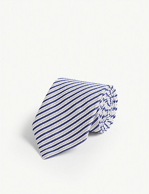 ETON Striped print wool, cashmere and silk-blend tie