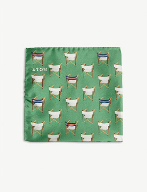 ETON Tennis chair print silk pocket square