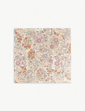 ETON Floral print linen-blend pocket square