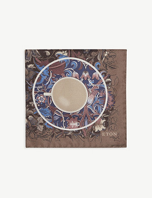 ETON Teacup floral print silk pocket square