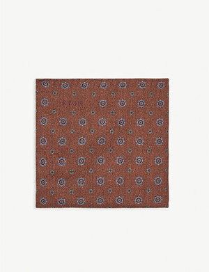 ETON Geometric floral wool pocket square