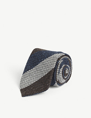 ETON Striped knitted silk tie