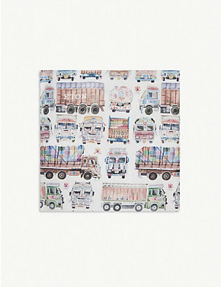 ETON: Van and truck-print cotton pocket square