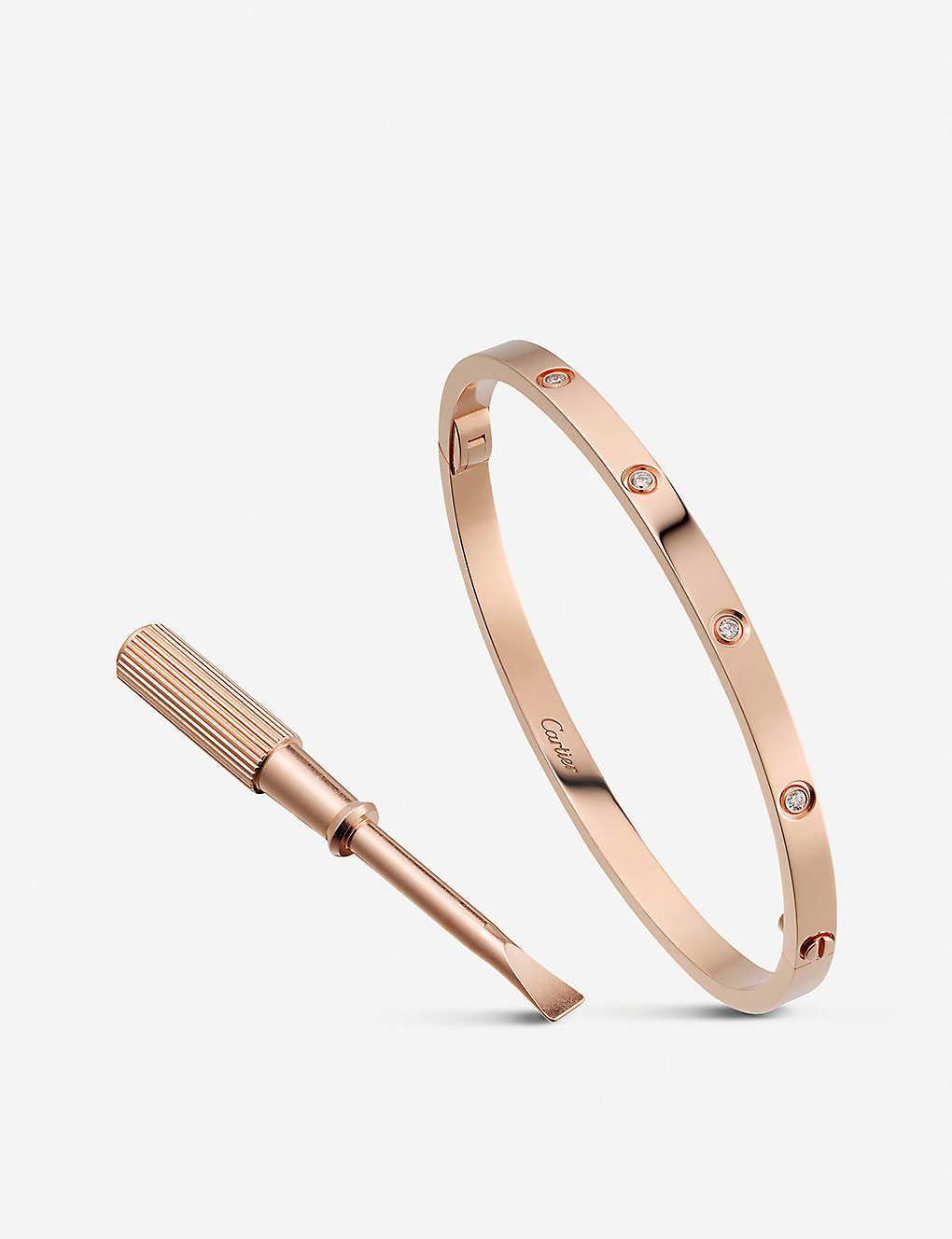 b91dbe33804f6 LOVE 18ct pink-gold and diamond bracelet