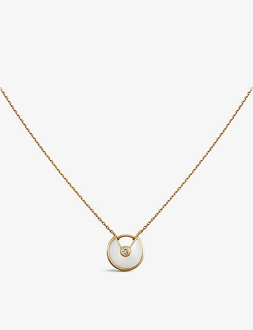 CARTIER: Amulette de Cartier 18ct yellow-gold, mother-of-pearl and diamond necklace