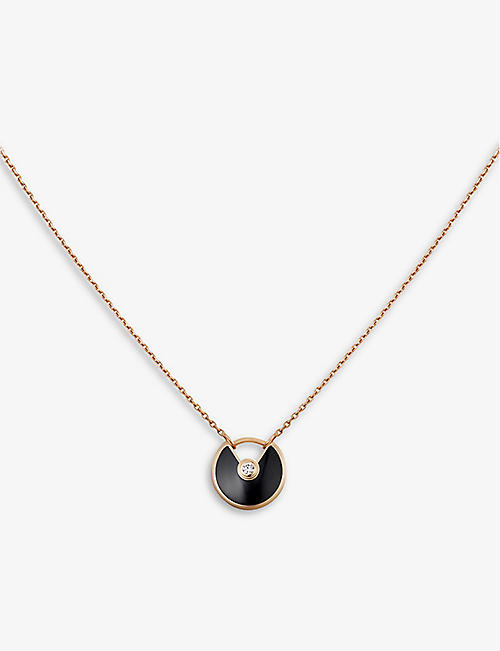 CARTIER Amulette de Cartier 18ct pink-gold, onyx and diamond necklace