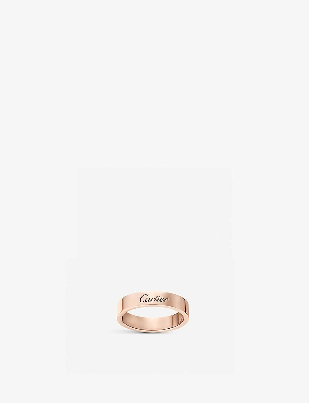 Cartier C De Cartier Rose Gold Wedding Ring Selfridges Com